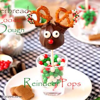 Gingerbread Cookie Dough Reindeer Pops