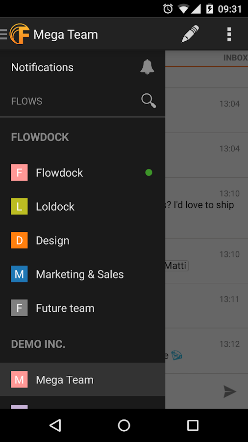 Flowdock- screenshot