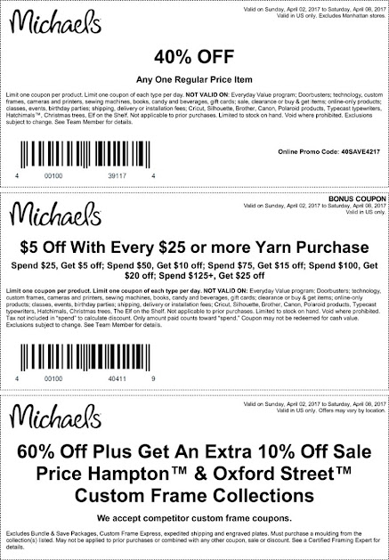 40 off a single item more at michaels or online via promo code 40save4217 04082017 - Michaels Frame Coupon