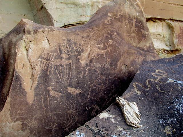 Petroglyphs on boulders
