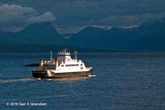 Photo: The car ferry Tresfjord on it's way across the Moldefjord, operating the busy Molde - Vestnes service
