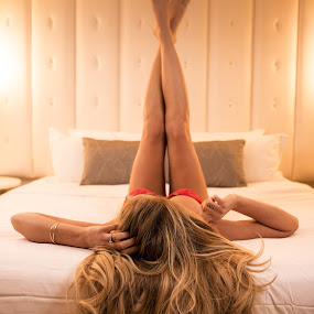 He'll be home soon by Patrick Miyoshi - People Street & Candids ( sexy beauty blonde nicehair boudoir bedroom setting, best female portraiture,  )