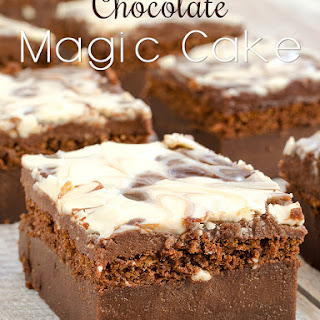 Chocolate Magic Cake with Chocolate Glaze and Swirl.