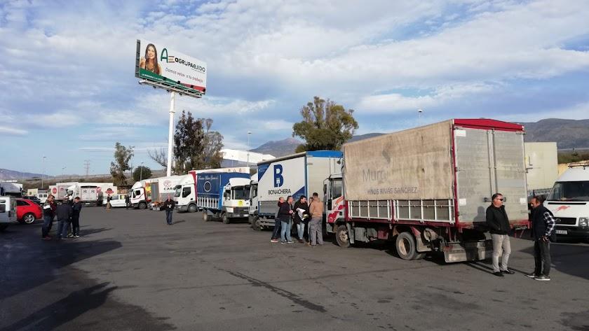 Transportistas haciendo acopio en una alhóndiga del Poniente almeriense.
