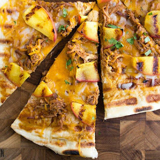 Grilled BBQ Pulled Pork & Peach Gourmet Pizza.