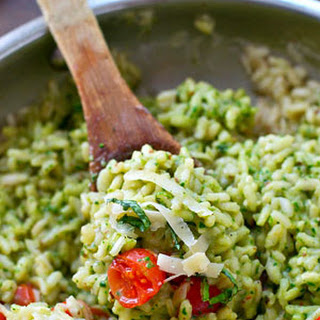 Parmesan Pesto Risotto with Cherry Tomatoes.