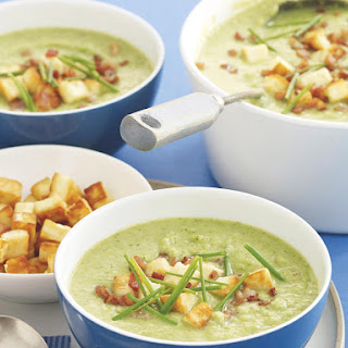 Broccoli, Pea and Bacon Soup with Haloumi Cheese