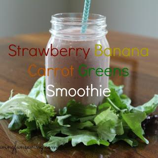 Strawberry Banana Carrot Greens Smoothie.