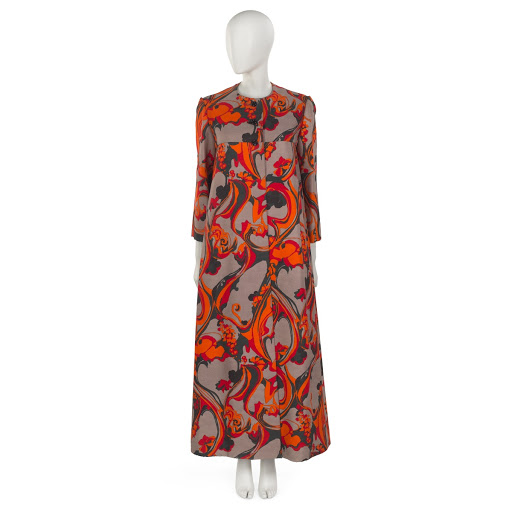 Evening dress and coat of printed red, orange and black swirl motif on grey printed silk and wool ground
