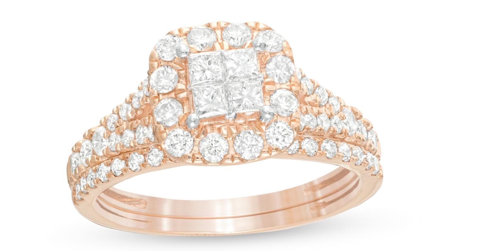 quad princess cut bridal set rings
