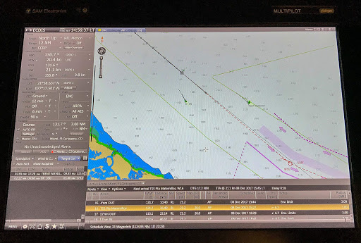 Electronic-Chart-Display-and-Information-System-ship-navigation.jpg - ECDIS (Electronic Chart Display and Information System) ship navigation on the bridge of Norwegian Jade.
