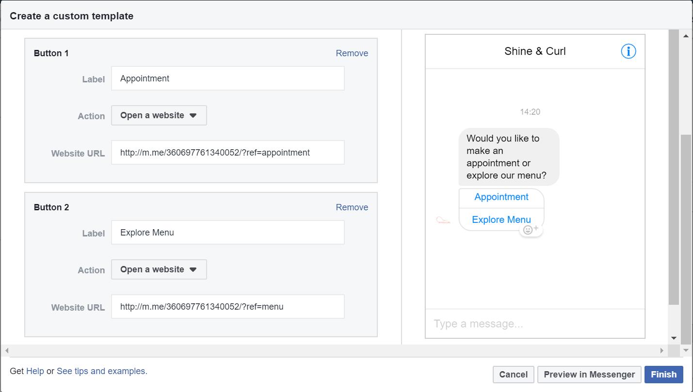 Custom messenger welcome screen