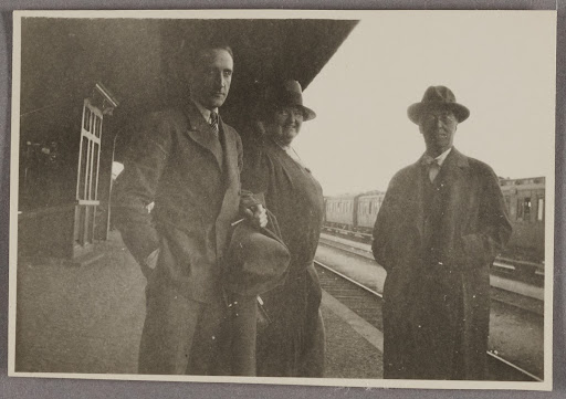 Marcel Duchamp, Katherine Dreier and Wassily Kandinsky on the platform of the rail station in Dessau