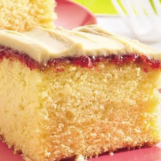 Strawberry-Filled Take-Along Cake with Brown Sugar Frosting.