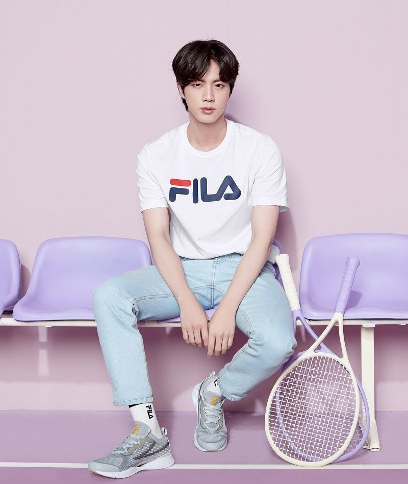 BTS's Jin Fila Indonasia White T-Shirt Pictures