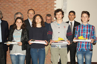 """Photo: Piccolo Agone Placidiano 2015: Vincitori per il Liceo Classico """"Romagnosi"""" di Parma: Pietro Grassani e Simone Defant (1° anno), Francesca Paini (2° anno), Bianca Ada Magnanini (3° anno)"""