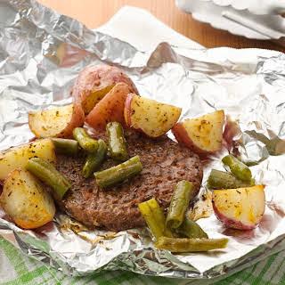 Seasoned Burger and Potato Foil Packs.