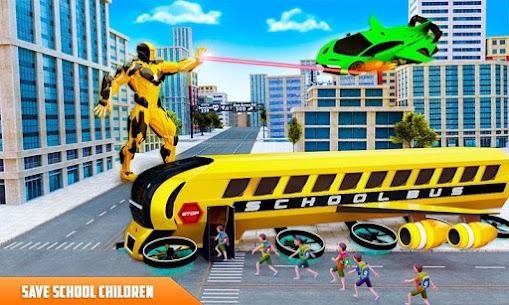 Flying School Bus Robot: Hero Robot Games 3