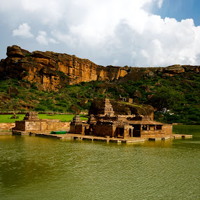 Badami Temple in the Lake by Narayna Gopi - Buildings & Architecture Statues & Monuments