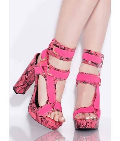 Incaltaminte Femei CheapChic Band Mate Caged Snake Print Platforms Hotpink