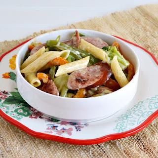 Polska Kielbasa & Vegetable Alfredo Pasta