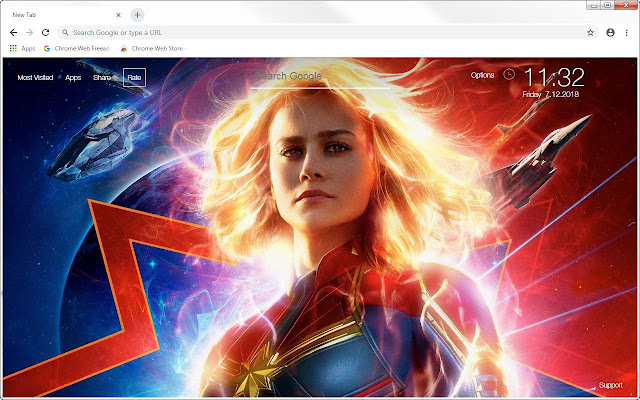 Captain Marvel Hd Wallpapers New Tab Themes Free Addons