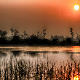 Sunset by Abdul Rehman - Landscapes Sunsets & Sunrises ( natural light, reflection, national geographic, sunset, nature up close, river )