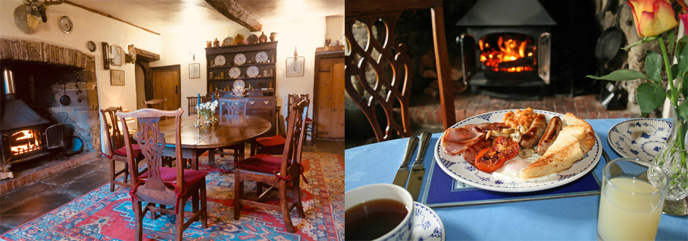 Enjoy a delicious breakfast in a medieval dining room at Huxtable Farm Bed and Breakfast.