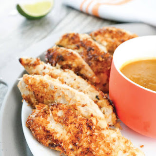 Coconut-Crusted Chicken Tenders with Pineapple Dipping Sauce.