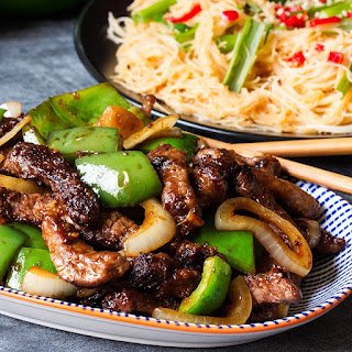 Black Pepper Steak with Chilli Lime Noodles.