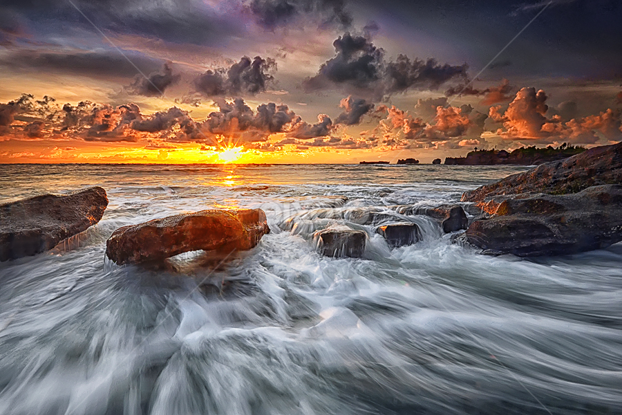 Sunset in Paradise by Hendri Suhandi - Landscapes Waterscapes ( bali, nature, sunset, cloud, rock, sunrise, beach, landscape )