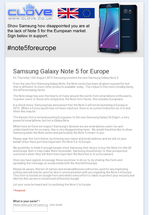 Samsung Galaxy Note 5 for Europe