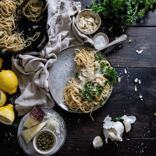 Garlicky Spaghetti With Lemon, Capers & Almonds.
