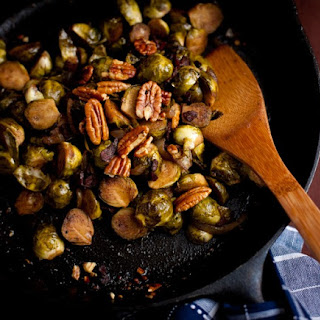 Balsamic Glazed Brussels Sprouts with Turkey Bacon adapted from Smitten Kitchen