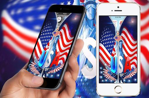 米国旗の画面のロック