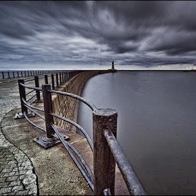 Roker by Ian Pinn - Landscapes Weather ( rocker, bleak, pier, weather, sunderland,  )