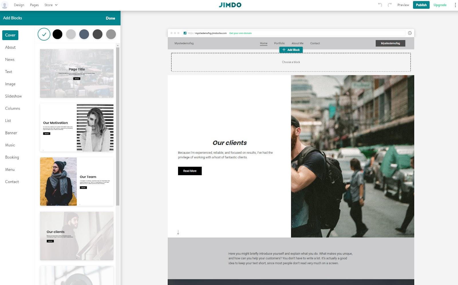 jimdo design flexibility