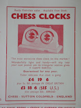 "Photo: CHESS No.187 Apr.1951  ""Pocket clock""  This looks identical to the Bijou clock advertised in CHESS in later years and, also, looks an identical design to the Swiss-madeSolora (see next image)"