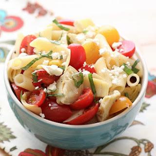 Italian Artichoke Tomato and Pasta Salad.