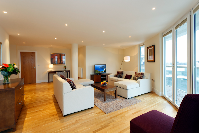 living space at Canary Wharf apartment