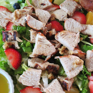 Fruit Salad with Grilled Chicken and Citrus Poppy Seed Dressing.