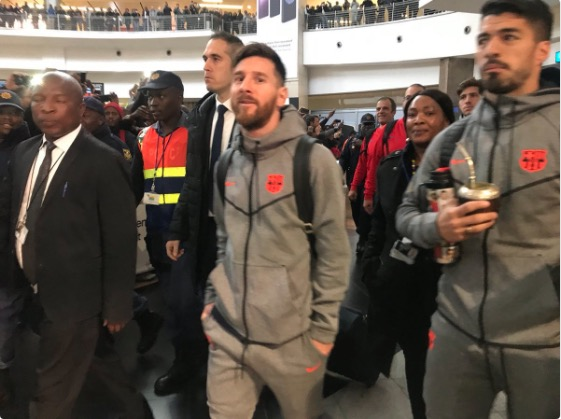 Lionel Messi and the rest of the Barcelona team caused a frenzy at O.R Tambo International.