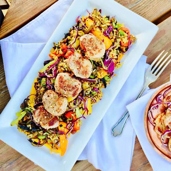 Pork Medallions With Seven Grains And Vegetables Recipe