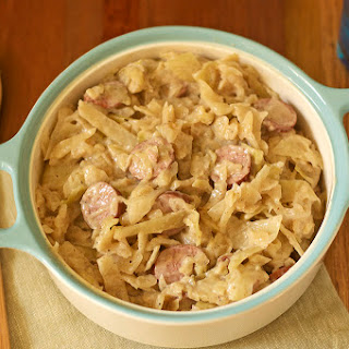 Aunt Helen's Creamy Cabbage and Kielbasa.