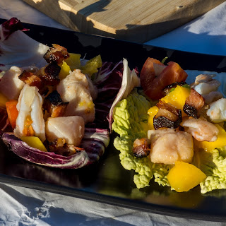 IPA Ceviche Lettuce Wraps with Bacon.