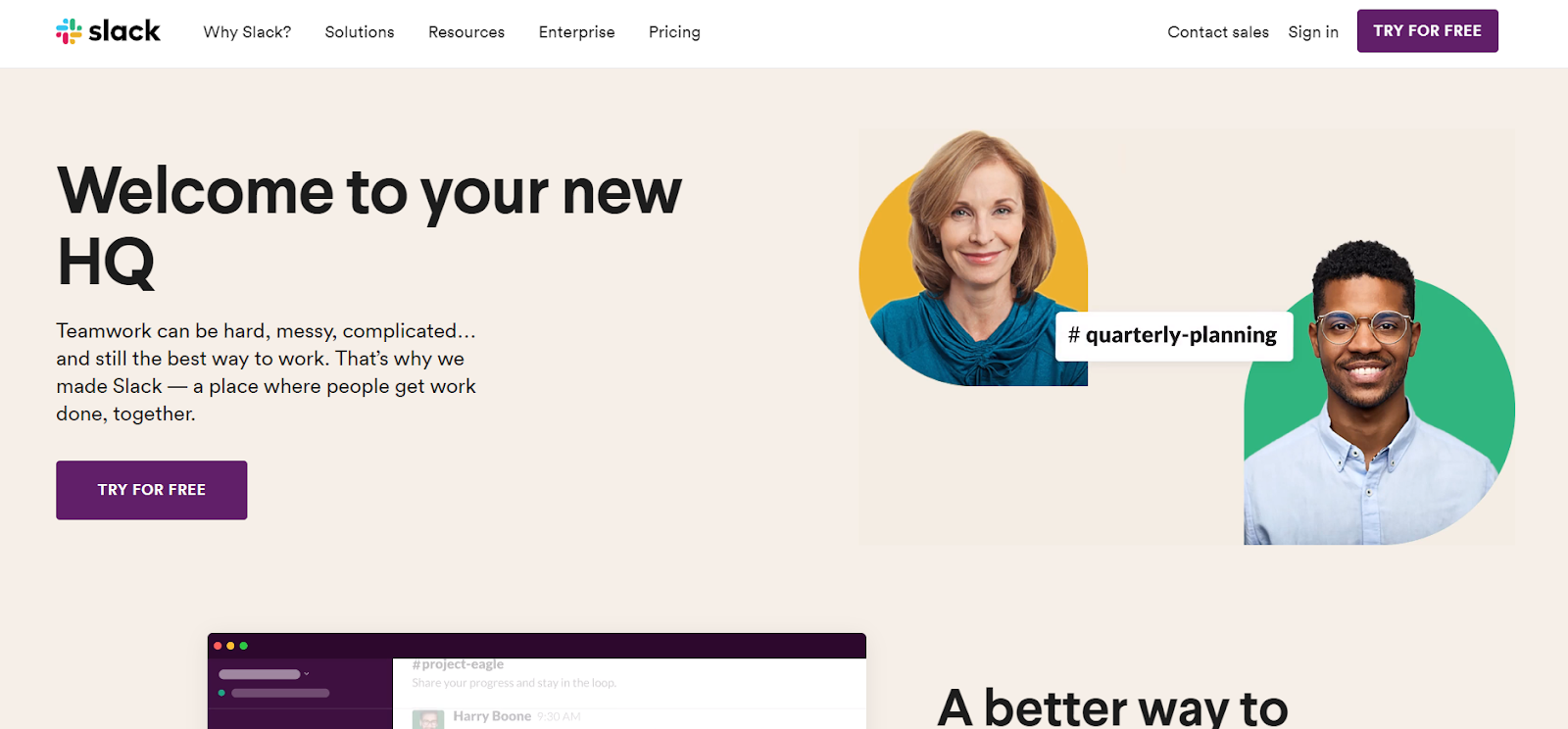 Slack product page design
