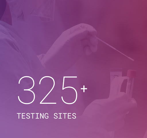 Verily and community-based testing sites span 15 states.