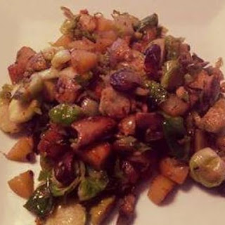 Potato Hash with Mushrooms and Brussels Sprouts