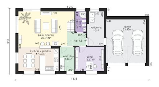 Dom przy Alabastrowej 15 - Rzut parteru