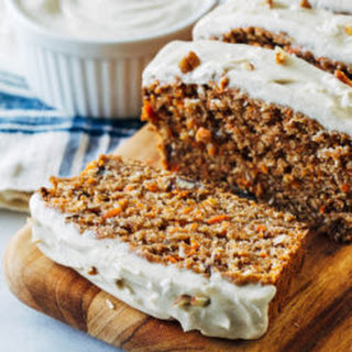 Vegan Banana Carrot Bread with Cream Cheese Icing.